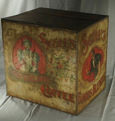 "Early Original Scull's Coffee Country Store Display Bin 19"" X 15"" X 19 1/2"" Tin"