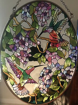 Stained glass A Mom Ovalhummingbird and Flowers - Hand Painted