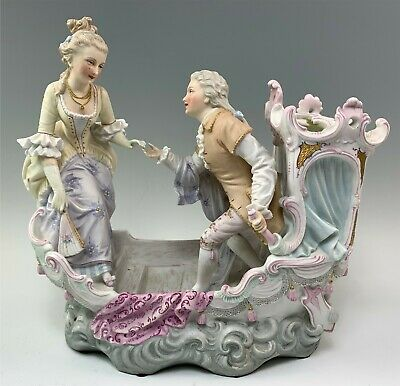 Antique 19thC French Bisque Porcelain Boat Vase w/ Couple ~Finely Painted Detail