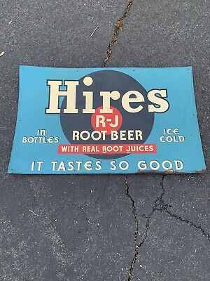 Vintage Hires Root Beer Pop Soda Beverage Tin Sign Advertising 47.5x28.5