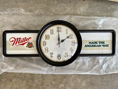 Vintage Miller Beer Made The American Way Bar Light Clock Collectible