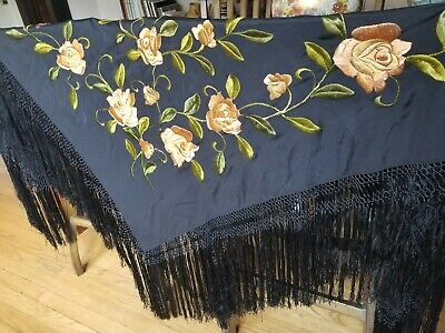 Antique Black Long Fringe Piano Shawl with Rose Embroidery/1940's