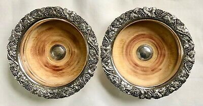 Pair of Vintage Silver Plate & Wood WINE BOTTLE COASTER GRAPEVINE Unmarked