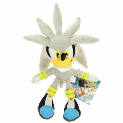 Silver Sonic Plush Doll Stuffed Animal Plushie Soft Toy Gift - 11 In