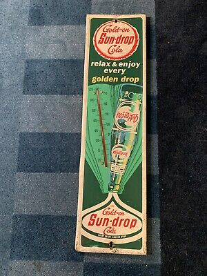 Vintage SUN-DROP COLA THERMOMETER Sign Soda Pop Drink Ad Coke 27.5x7.5