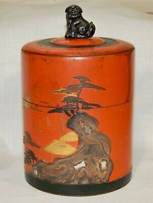 Antique Japanese Tin Jar Volcanic Mother Of Pearl Foo Dog Dragon Filial Tea Old