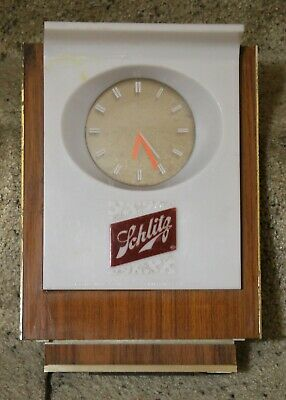 Vintage 1960s SCHLITZ BEER Bar Galaxy Clock with Floating Hands Works Great!!