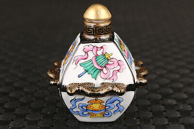 chinese old porcelain Hand painting blessing statue snuff bottle Art Gift Rare