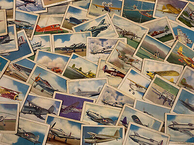 (62) Lot Of 1940s Wings Cigarette Airplane Cards