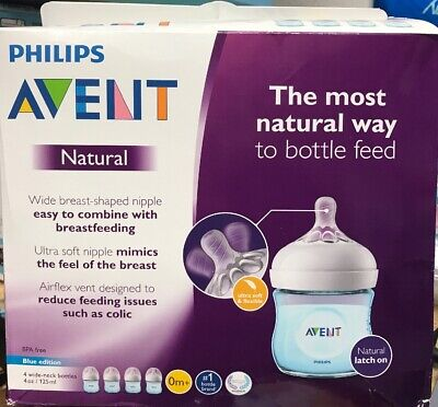 Philips Avent Natural Baby Bottle, Blue, 4oz, 4pk, SCF010/49 -New
