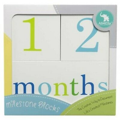 All4Ella Baby Milestone Blocks Newborn White & Blue Document Photo Prop