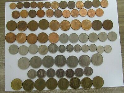 Lot of 79 Different Old Ireland Decimal Coins - 1969 to 2000 - Circulated & BU