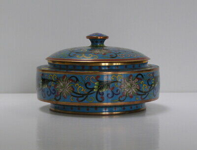 Antique Chinese Cloisonne Circular Lidded Box - Qing 19th Century