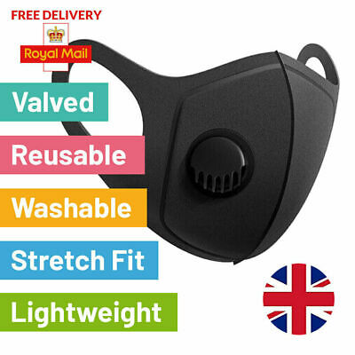 Black Face Mask Valve Filter Protective Covering Reusable Washable Breathable UK
