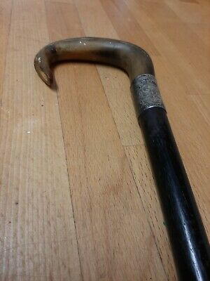 Vintage Ebony Walking Stick With Silver Collar And Bone/Horn Handle