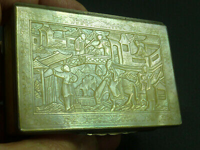 Chinese Export Silver Carved Mother of Pearl Snuff Box MOP Cantonese Antique