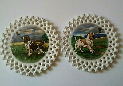 Vintage Hunting Dog Plates English Springer Spaniels Lattice Edges