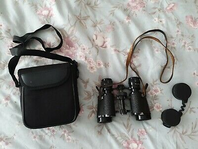 Vintage Binoculars With Leather Strap And Case