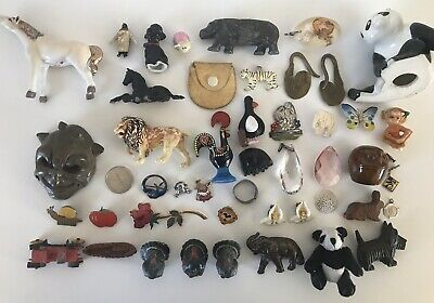 Job Lot Of Vintage Collectables Lead Toy Enamel Pin Glass Crystal Jewellery