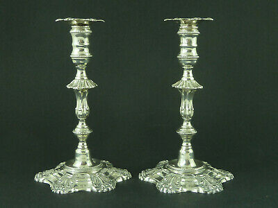 Pair Georgian Style Solid Cast Sterling Silver Shell Base Tapersticks