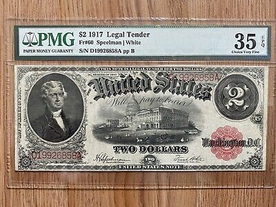 FR 60 1917 $2 Two Dollar Bill Red Seal United States Legal Tender PMG 35