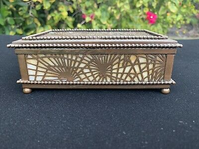 Tiffany Studios Spider Web Pattern Bronze & Carmel Slag Glass Box