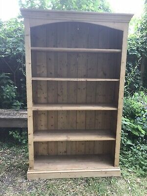 Large Vintage Solid Stripped Pine Bookcase