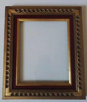 """Vintage Gold Gilded Wood Beautiful Ornate Picture Frame 12"""" x 14"""" W/glass"""