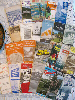 Vintage Lot Of 25 Travel Brochures-Train-Ferry-Bus-1950-60'S-Many States-Maps