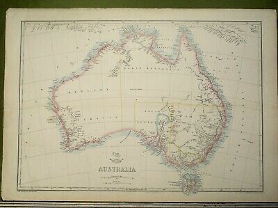 ANTIQUE MAP c1862 by EDW WELLER AUSTRALIA INTERESTING EARLY MAP