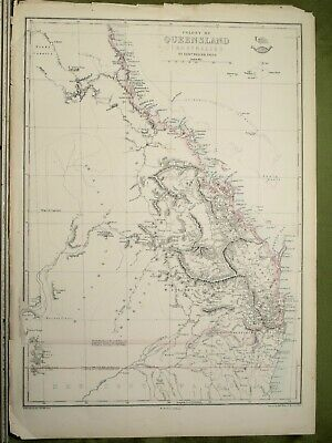 ANTIQUE MAP c1862 by EDW WELLER AUSTRALIA QUEENSLAND, BRISBANE