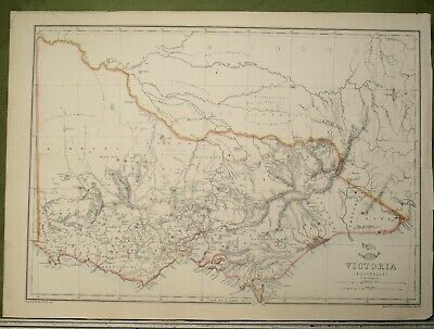 ANTIQUE MAP c1862 by EDW WELLER AUSTRALIA VICTORIA MELBOURNE