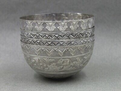Asian Sterling Silver Set 4 Bowls Chinese Export or Singapore Indonesia Thailand