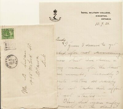 Old 1926 RMC Royal Military College Letter June Ball Envelope Kingston ON Canada