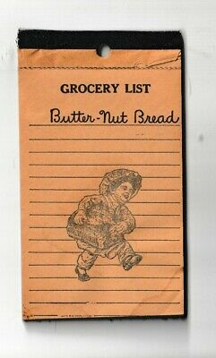 BUTTER NUT BREAD ADVERTISING Bound Grocery List Note pad -  old!