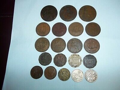 OLD COINS one penny-half penny-three pence-farthing-sixpence  20 in total (A)
