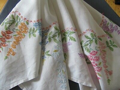 2 Vintage Tablecloths & 1 Tray Cloth, All Floral Embroidered
