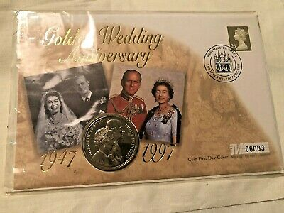 1997 Queen And Prince Philip Golden Wedding Five Pound Coin And Stamp Cover