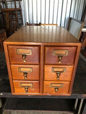 Antique Library  6 Drawer Card Catalogue File Cabinet Tiger Oak