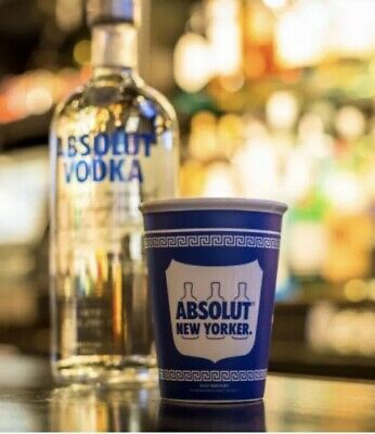 Absolut Truth-Vodka-New-Yorker-Ceramic Cup Glass  Greek Diner Advertising RARE✔️