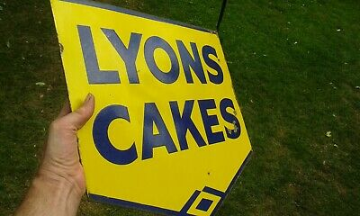 A Nice Original Small Size Double Sided LYON'S CAKES Enamel Sign.