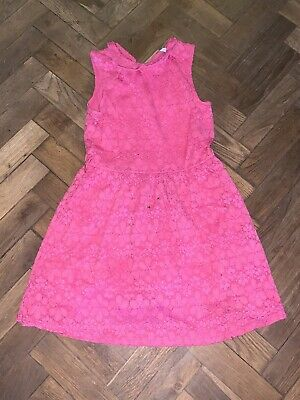 Girls M&S Pink Flower Lace Dress Age 10-11