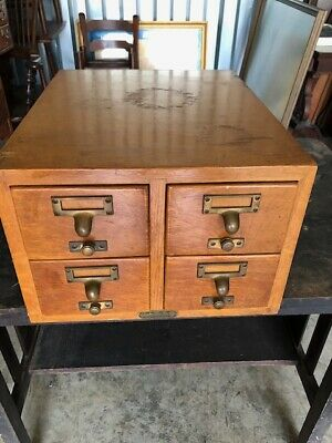 Antique Graylord Bros.,Inc.Library Card Catalog Index 4 Drawer Tiger Oak  File