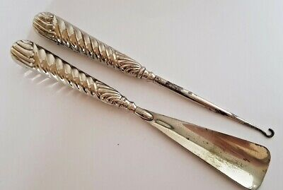 Antique Silver Plated Matching Button Hook & Shoe Horn 8.5""