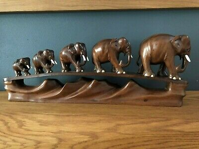 Antique Indian Hand Carved Wooden 5 Elephant Bridge