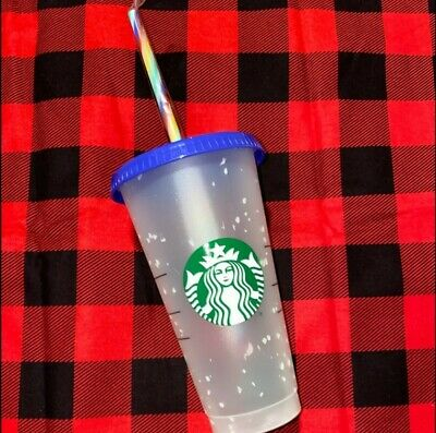Starbucks Confetti Color Changing Tumbler Cup Rainbow Straw Pride 2020 Reusable