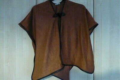 River Island Girls Tan Suede Effect Black Lined Poncho 11-12 Years
