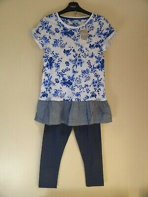 NEXT cobalt blue floral print cotton tunic and mid blue leggings outfit 12 years