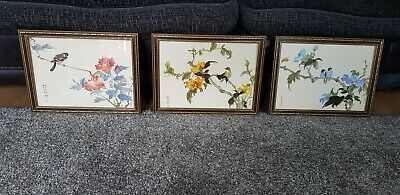 Set Of 3 Vintage Chinese/Japanese bird Paintings