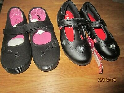 Brand New Girls Black Coated Leather School Shoes Size UK 11/12& Next Pumps 13